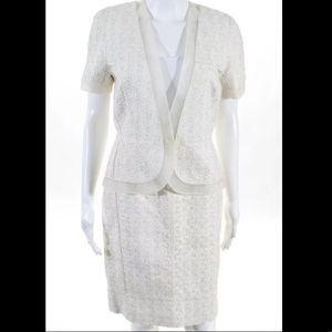 J MENDEL 💯% authentic sparkle silver skirt suit